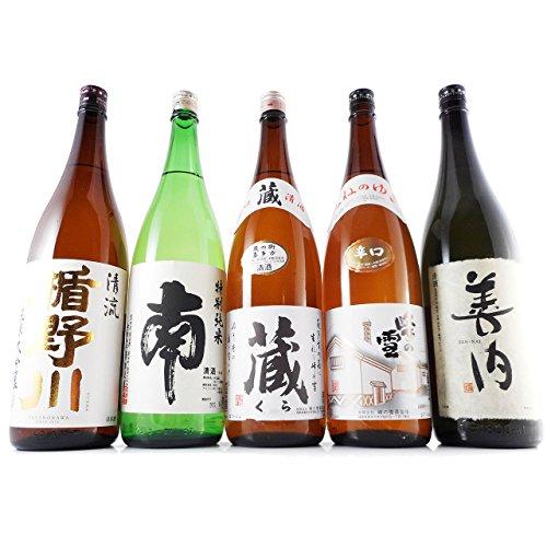 お中元 ギフト 日本酒 飲み比べセット 5本セット 楯野川 純米大吟醸・南・蔵・峰の雪・善内 一升瓶×5