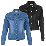 KRISP Ladies Womens Button Down Collared Full Sleeve Cropped Bomber Biker Denim Jeans Jacket Coat Light Wash Faded Colour Spring Summer 9124