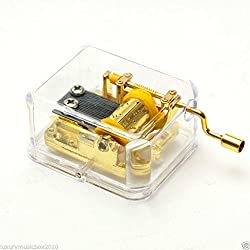 Imported Hand Crank Music Box Movement Play Blue Danube - Gold
