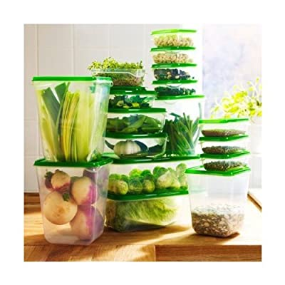 Ikea Foodsaver Food Containers, Set of 17, Clear, Green BPA Free