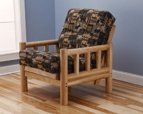 Simple Cabin Lodge Log Futon Frame w up North Premium Innerspring Mattress Sofa Bed Set
