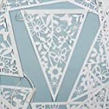 Vintage Style Paper Lace Bunting, 20 pennants, White, 8 metres. Perfect for weddings, celebrations, anniversaries, birthdays or as a pretty home decoration.
