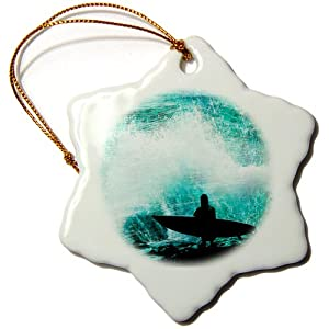 3dRose orn_52243_1 Watching Waves Smashing on The Rocks While a Surfer Watches for The Perfect Wave Snowflake Porcelain Ornament, 3-Inch