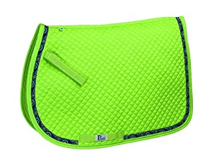 Perri's All Purpose Ribbon Saddle Pad, Lime Green/Circles