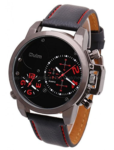 2014 Oulm Fashion Army Military Dual Time Zones Mens Leather Wrist Watch-Red