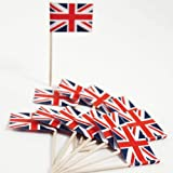 Union Jack Flag Cocktail Sticks - 50 Pack - Ideal For Parties BBq's Queens Jubilee