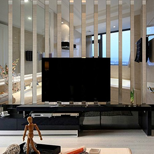 Yanqiao 10*38cm*10pcs 3D Long Rectangle Acrylic Mirrors Wall Stickers TV Background Living Room Bedroom Home Decoration Wall Border Decal,Silver