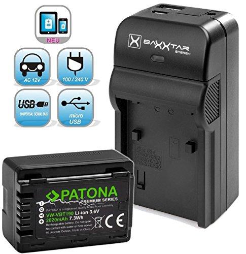 Baxxtar RAZER 600 Ladegerät 5 in 1 + PATONA Premium Akku für Panasonic VW VBT190 (echte 2020mAh) mit Micro USB Eingang und USB-Ausgang zum gleichzeitigen Laden von iPhone, Tablet, Smartphone..