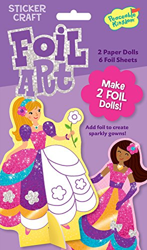Peaceable Kingdom / Foil Art Fancy Gown Stand-Up Dolls Sticker Craft Pack front-638569