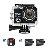 Wimius Action Camera 4K 1080P 16MP WiFi Sport telecamere subacquea 131ft Full HD,fotocamera e videocamera impermeabile con telecomando 2.4G + 2 batterie + 25 accessori kits