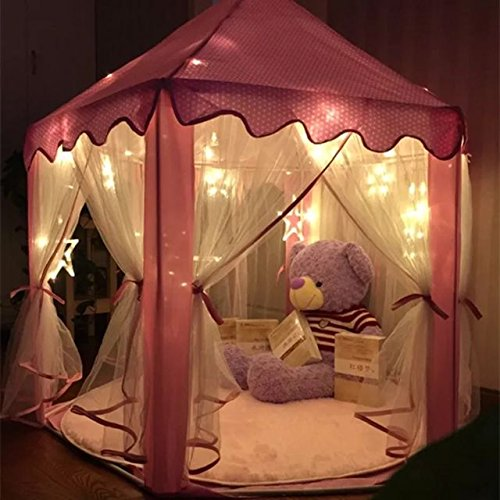 Home ... & Pink Princess Castle Kids Play Tent Children Playhouse with 23 ...