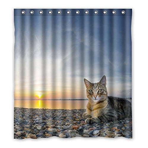 """167 cm x183 cm (66 """"x72"""") Bagno Doccia Tenda, di alta qualità del gatto Mare rilassata, HD Fashion Design personalizzato tessuto di poliestere su misura tenda della doccia"""