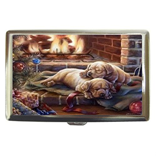 New Christmas Puppies Custom Business Name Card Money Credit Card Holder Box Case front-268456