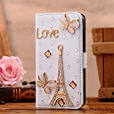 Welpad Bling gem diamond case cover flip leather card holder preminm cover for LG G3 D855 D850 D851 (golden eiffel and butterfly)