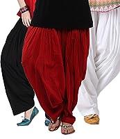 Pistaa'S Women's Cotton Patiala Salwar Combo (ACPSBLKMRNMW_Black, Maroon and White_Free Size)