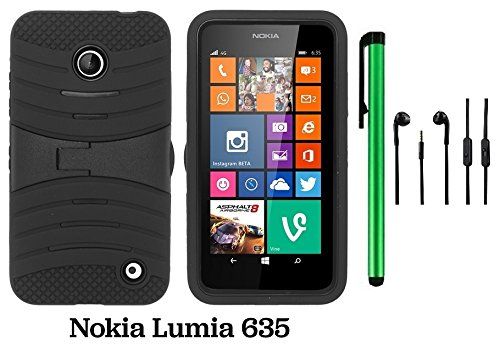 Premium Ucase With Kickstand Cover Case For Nokia Lumia 635 (Us Carrier: T-Mobile, Metropcs, And At&T) + 3.5Mm Stereo Earphones + 1 Of New Assorted Color Metal Stylus Touch Screen Pen (Black / Black)