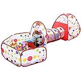 (フォクスン)FocuSun 子供用テント セット  ボールプール ボールピット 折り畳み式 トンネル バスケットネット 収納バッグ付き 3in1