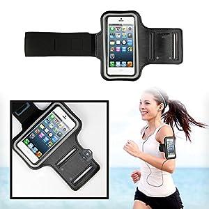 SAVFY® Noir Brassard Armband Sport pour iPhone 4 4S 5 5S 5C pour le Jogging / Gym / Sport - confortable avec sangle réglable