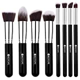 [Updated Version] BESTOPE Makeup Brushes Premium Makeup Brush Set Synthetic Kabuki Makeup Foundation Eyeliner Blush Contour Brushes for Powder Cream Concealer Brush Kit(8PCs, Black Sliver)