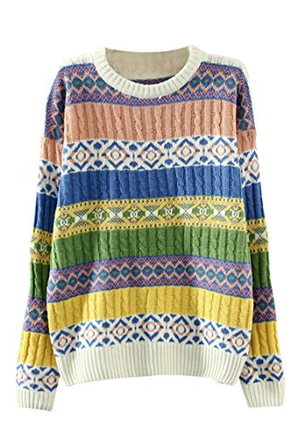 Pink Wind Womens Spring Autumn Geometry Jacquard Cable Knit Sweater Sweatshirt