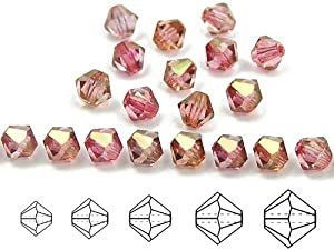 6mm Crystal Red Luster, Czech MC Rondell Bead (Bicone, Diamond Shape), 1 gross = 144 pieces