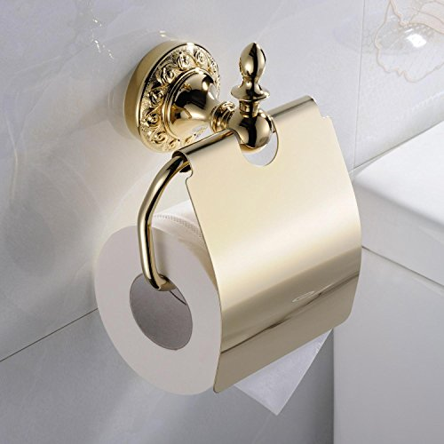 Ouku® Wall Mount Bathroom Bath Shower Antique Inspired Ti-Pvd Finish Solid Brass Material Toilet Paper Holder And Stands Lavatory Accessories Tools And Improvement front-757974