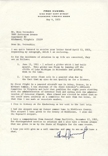 Fred Hummel - Typed Letter Signed 05/04/1973
