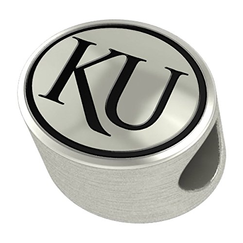 Kansas Jayhawks Silver Antiqued Bead Fits Most European Style Charm Bracelets