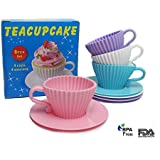 Silicone Baking Cups / Cupcake Liners / Premium Reusable Muffin Molds, 4 Cups and 4 Saucers in Pretty Storage Box