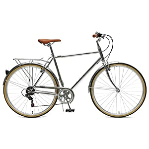 Critical Cycles Beaumont-7 Seven Speed Men's Urban City Commuter Bike, Chrome, 58cm (Large)