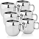 Zahab Silver Stainless Steel Tea & Coffee Mug - Set Of 6