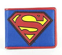 SUPERMAN S Logo Blue Nylon/Leather Bi-Fold WALLET