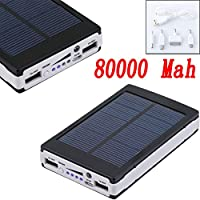 Black 80000mAh Dual USB Portable Solar B...