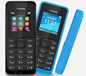 NOKIA 105 FULL BLACK SIMFREE GSM UNLOCKED TORCH RADIO EASY TO USE BASIC LONG BATTARY DUST & SPLASH PROOF
