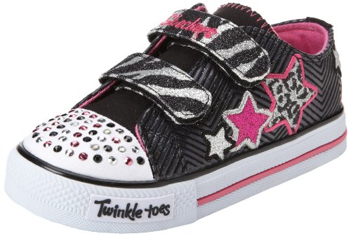 Skechers Kids 10316N Twinkle Toes Wild Starlight Sneaker,Black/Silver,8 M Us Toddler front-1067306