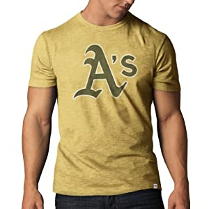 MLB Oakland Athletics Mens Scrum Basic Tee, X-Large, Track Gold by
