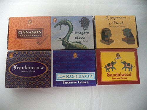 6 Assorted Boxes of Kamini Incense Cones, Best Sellers Set #3 6 X 10 (60 total) (Variety Incense Cones compare prices)