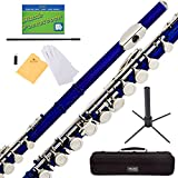 Mendini MFE-BL+SD+PB Blue Lacquer Closed Hole C Flute with 1 Year Warranty, Case, Stand, Cleaning Rod and Cloth, Joint Grease, and Gloves