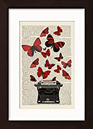 Red Butterflies On Vintage Underwood Typewriter Mounted / Matted Ready To Frame Dictionary Art Print