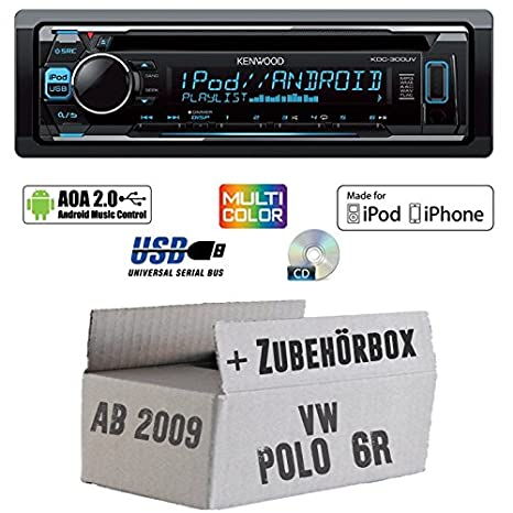 VW Polo 6R - Kenwood KDC-300UV - CD/MP3/USB VarioColor Autoradio - Einbauset