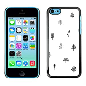 Omega Covers - Snap on Hard Back Case Cover Shell FOR Apple iPhone 5C - Tree White Black Pattern Minimalist Clean