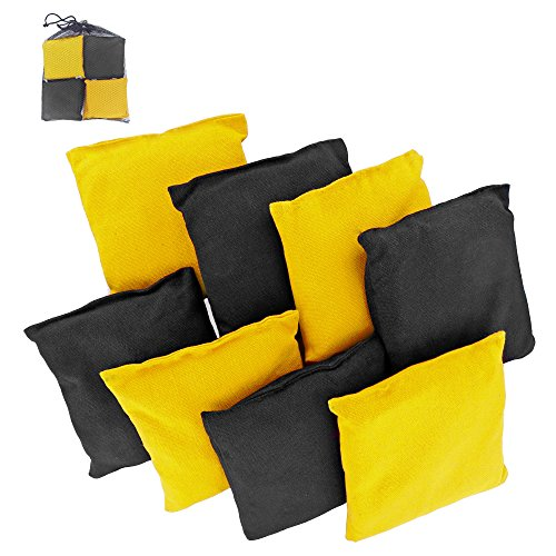 Premium Weather Resistant Duck Cloth Cornhole Bags - Set of 8 Bean Bags for Corn Hole Game - 4 Yellow & 4 Black (Gator Corn Hole Bags compare prices)