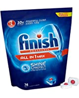 Finish All-in-One Max Dishwasher Tablets - Original, Pack of 1 (Total 74 Tablets)