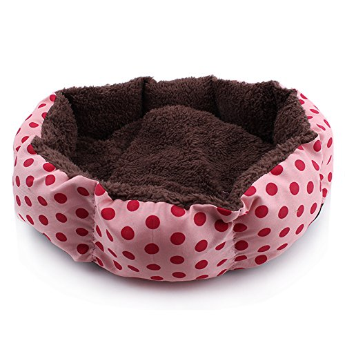3s Pet Dog Puppy Cat Warm Bed House Plush Cozy Nest Mat Pad (Pink)