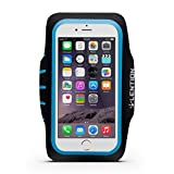 LENTION Sport Armband for 4.9-inch to 5.7-inch Cell Phones Smartphone Adjustable Belt Case Running Band Waterproof Sweat-proof with Key Holder and Card Holder (Black with Blue)