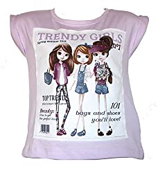 Real Princess Cotton Purple T-Shirt For Kids-Girls (Age Group: 7-8 Years)