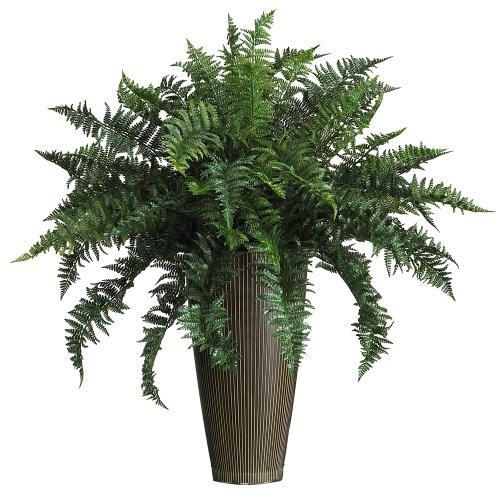 Nearly Natural 6540 Ruffle Fern with Decorative Vase Silk Plant Indoor/Outdoor