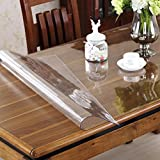 OstepDecor Custom 1.5mm Thick Crystal Clear PVC Table Cover Protector Desk Pads Mats Multi-Size