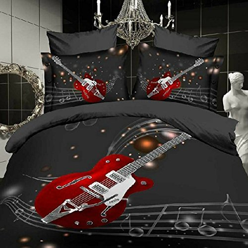 Wowelife Polyester 3D Fashion Guitar with Stave Print 4 Piece Duvet Cover Set Bedding Sets 4 PCS, Bed Sheet, Pillow Cases (Comforter Not Included) (Full)