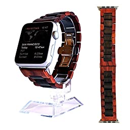 Apple Watch Band - Ottm 38mm Unique Wooden Watch Band for Apple iWatch with extra links and tool for resizing (Sandalwood)